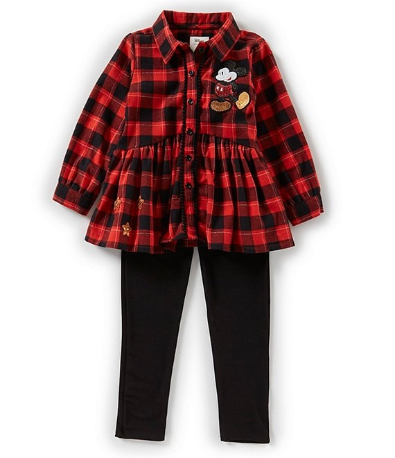 Disney x Pippa & Julie Little Girls 2T-6X Mickey Mouse Plaid Tunic & Solid Pant Set