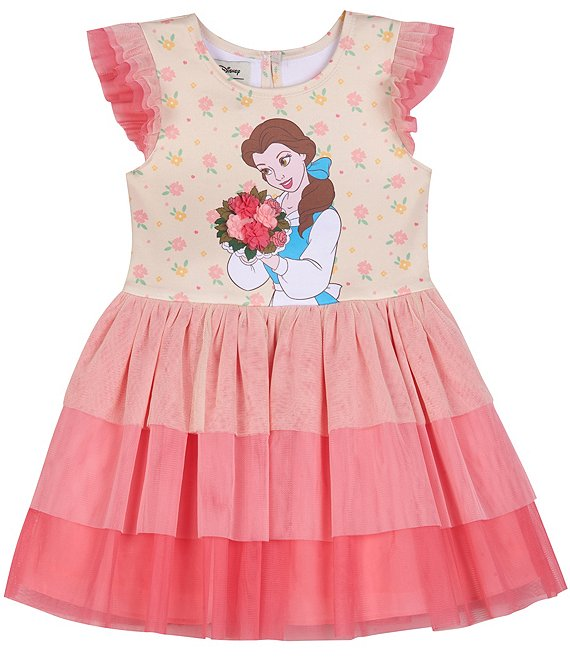 Color:Yellow - Image 1 - Disney x Pippa & Julie Baby Girls Newborn-24 Months Beauty and the Beast Tiered Fit-And-Flare Dress