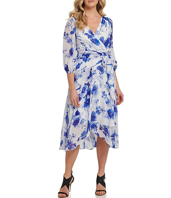Color:Iris Combo - Image 1 - Balloon Sleeve Floral Chiffon Faux Wrap Midi Dress