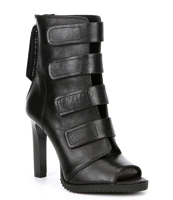 black open booties