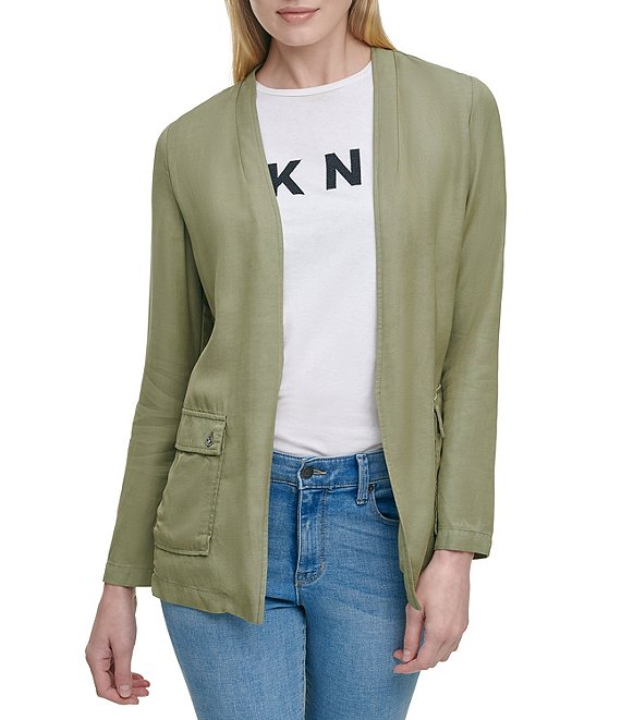 Color:Cargo Green - Image 1 - Drawstring Back Waist Detail Open-Front Long Sleeve Tencel Jacket