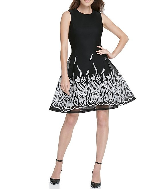Color:Black/Ivory - Image 1 - Embroidered Mesh Sleeveless Fit & Flare Dress