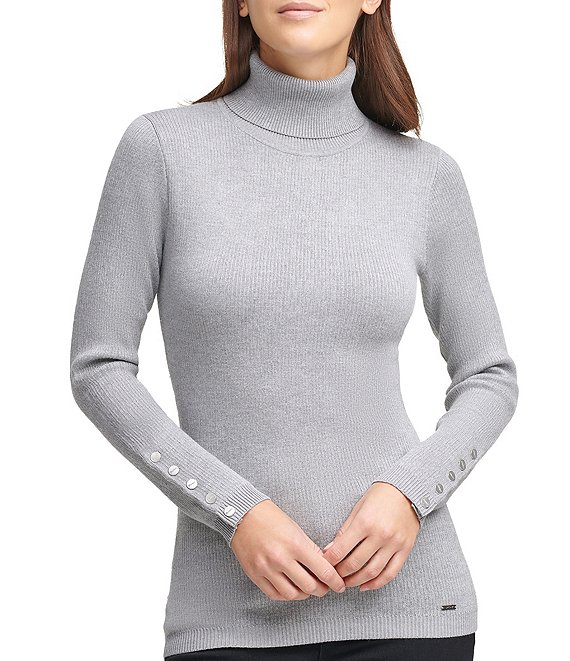 Color:Avenue Grey - Image 1 - Fine Gauge Ribbed Knit Long Sleeve Turtleneck Sweater With Button Trimmed Cuffs