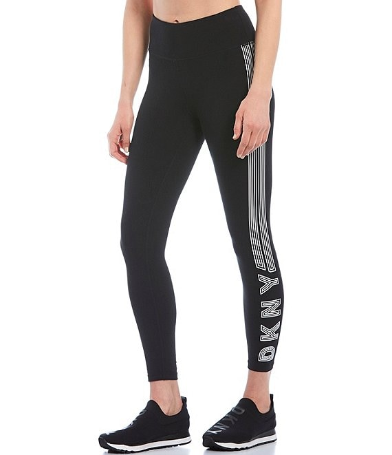 Color:Black/White - Image 1 - High Waist 7/8 Track Logo Legging