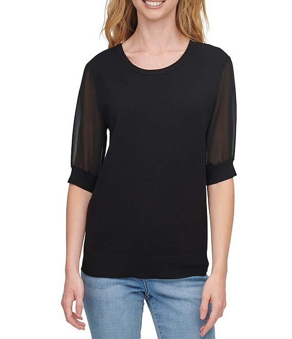 Color:Black - Image 1 - Mixed Media Chiffon Short Sleeve Scoop Neck Fine Gauge Sweater Knit Top