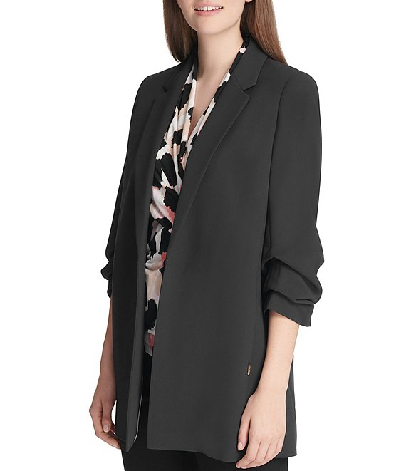 Color:Black - Image 1 - Oversized 3/4 Ruched Sleeve Jacket