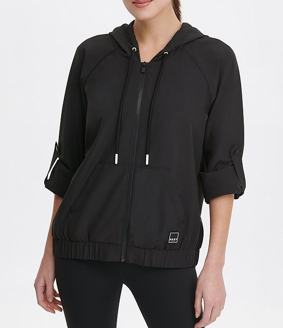 Color:Black/Black - Image 1 - Roll Cuff Zip Hoodie Jacket