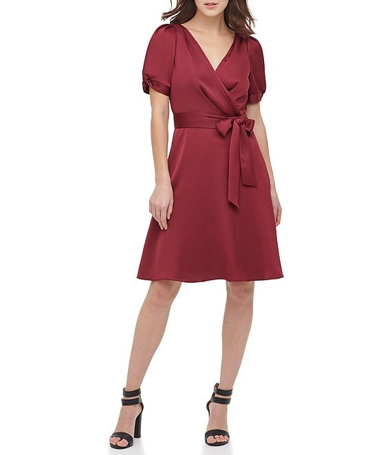 Color:Maroon - Image 1 - Satin Back Crepe Knotted Puff Sleeve Tie Waist Faux Wrap Dress