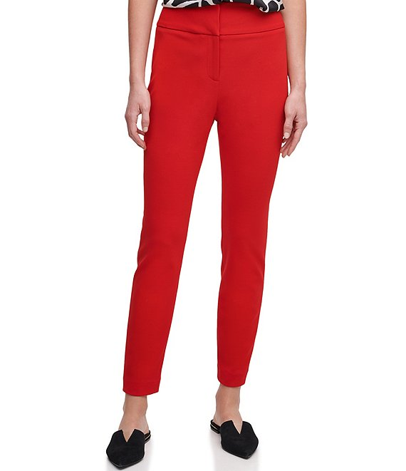 Color:Red - Image 1 - Scuba Crepe Wide Waistband Skinny Leg Ankle Pants