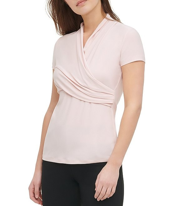 Color:Dusty Rose - Image 1 - Short Sleeve Matte Jersey Side Ruched Top