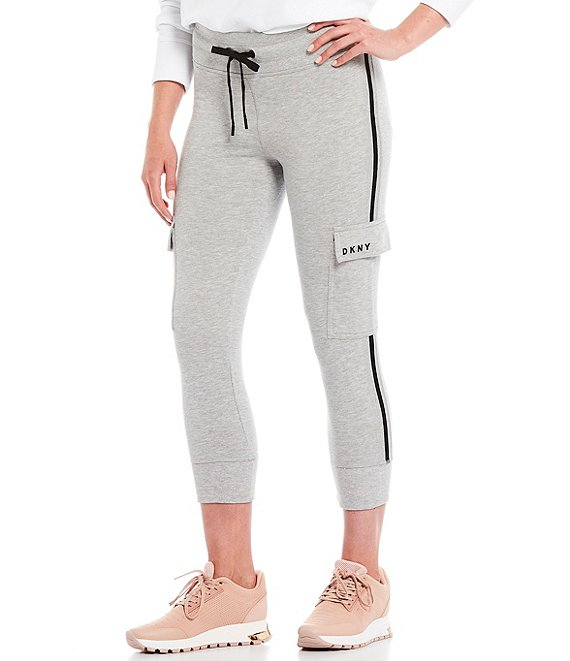 Color:Pearl Heather Grey - Image 1 - Sport Cropped Cargo Jogger Drawstring Pant
