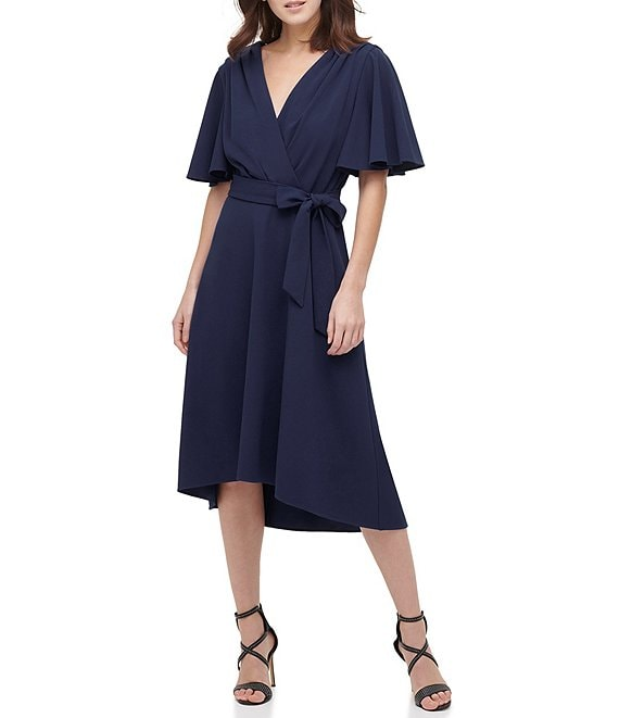 Color:Navy - Image 1 - Surplice V-Neck Flutter Sleeve Tie Waist Crepe Hi-Low Midi Dress