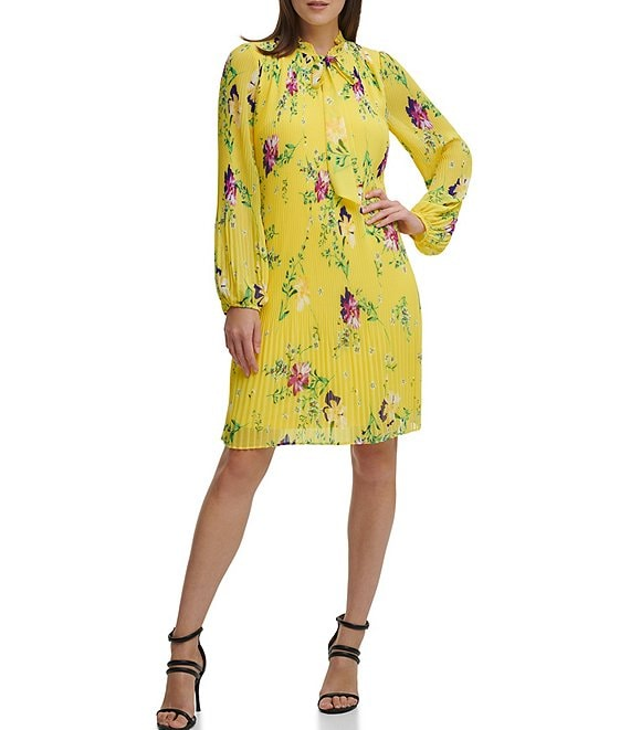 Color:Sunflower Multi - Image 1 - Tie Neck Floral Micro Pleat Chiffon Shift Dress