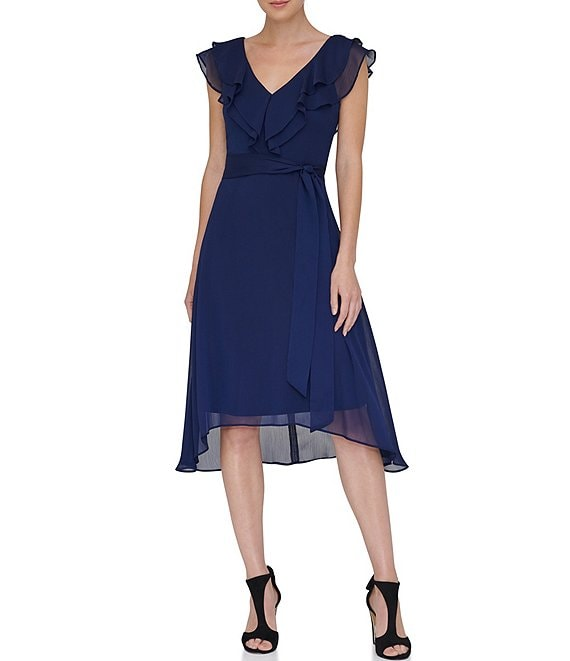 Color:Midnight - Image 1 - V-Neck Double Ruffle Asymmetrical Hem Chiffon Dress