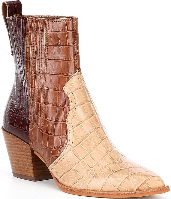 Color:Brown Multi Croc Print Leather - Image 1 - Serna Multi Croc Embossed Leather Western Booties