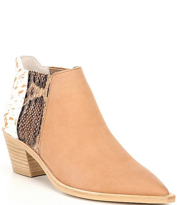 Color:Taupe Multi - Image 1 - Shana Multi-Media Western Chelsea Booties