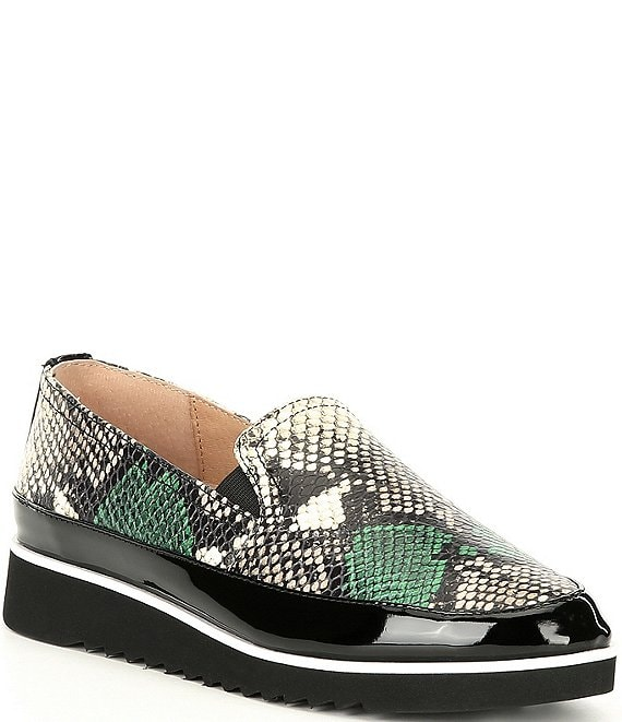 Color:Moss - Image 1 - Finni2 Snake Print Leather Slip-On Loafers
