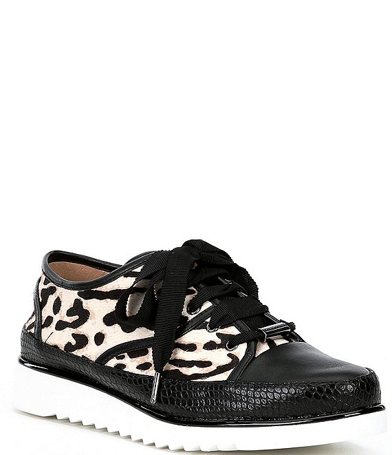 Color:Black/White - Image 1 - Flipp Leopard Print Calf Hair Sneakers