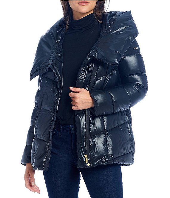 Color:Black - Image 1 - Asymmetrical Closure Hooded Down Puffer Coat