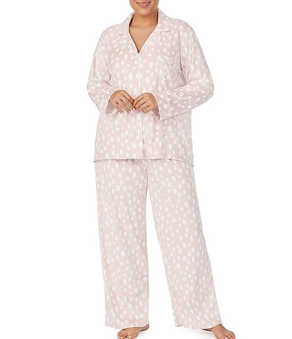 Color:Blush Dot - Image 1 - Plus Dot Print Stretch Velour Pajama Set
