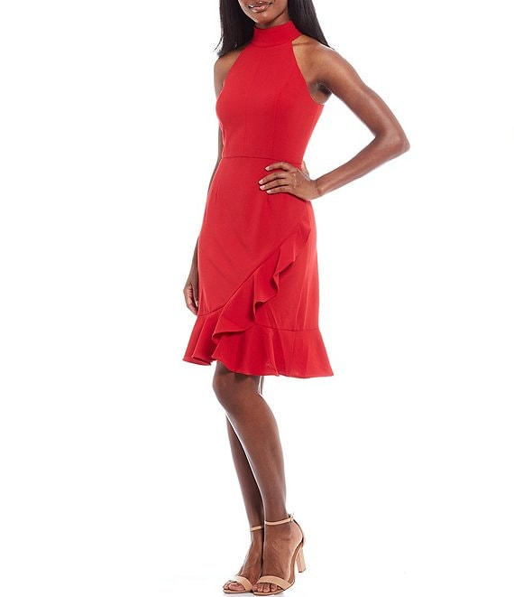Color:Red - Image 1 - Scuba Crepe Mock Neck Sleeveless Ruffle Front Sheath Dress