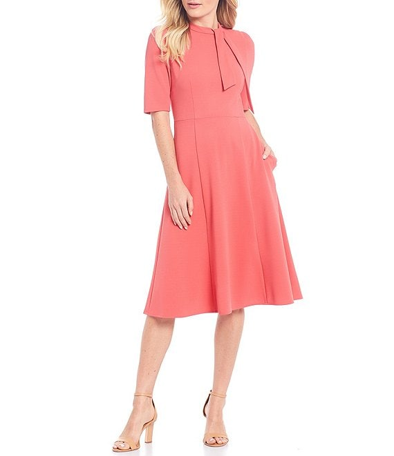 Color:Terracotta - Image 1 - Stretch Knit Crepe Tie Neck Fit & Flare Dress