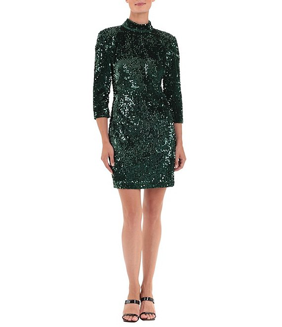 Color:Green - Image 1 - Stretch Sequin Velvet Open Back 3/4 Sleeve Mini Dress