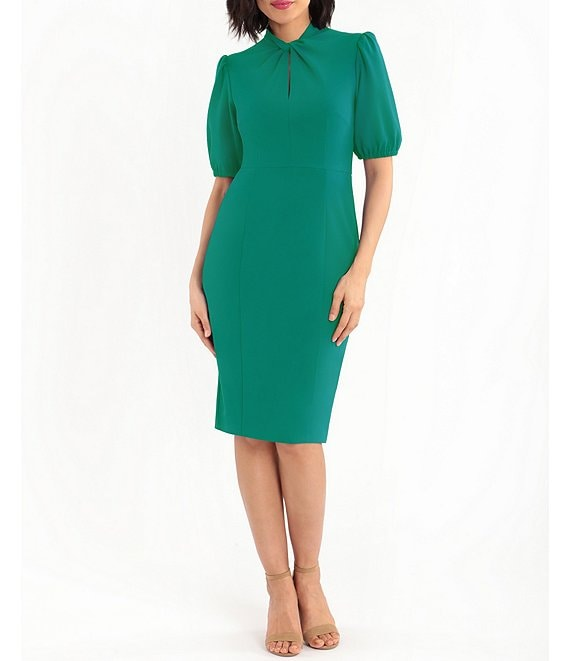 Color:Evergreen - Image 1 - Twist Front Short Puff Sleeve Knitted Crepe Sheath Dress