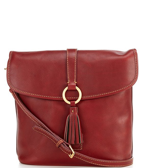 Color:Bordeaux - Image 1 - Florentine Collection Large Dottie Leather Crossbody Bag