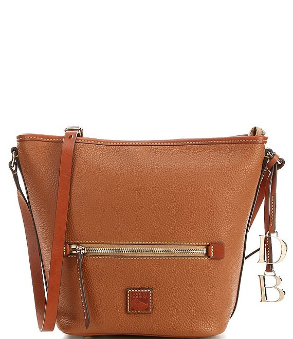 Color:Caramel - Image 1 - Pebble Collection Large Top Zip Crossbody Tote Bag