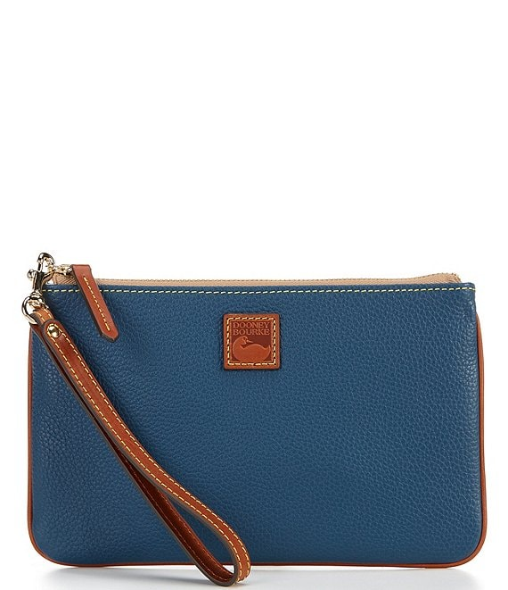 Color:Jeans - Image 1 - Pebble Collection Large Leather Zippered Wristlet