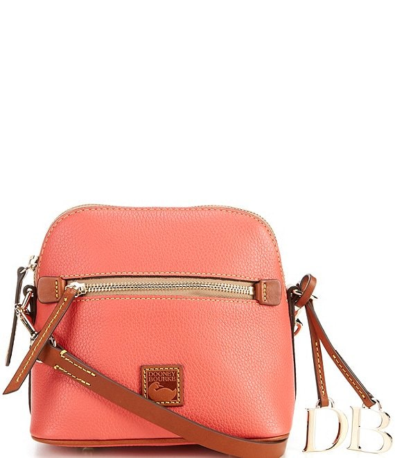 Color:Geranium - Image 1 - Pebble Collection Leather Domed Crossbody Bag