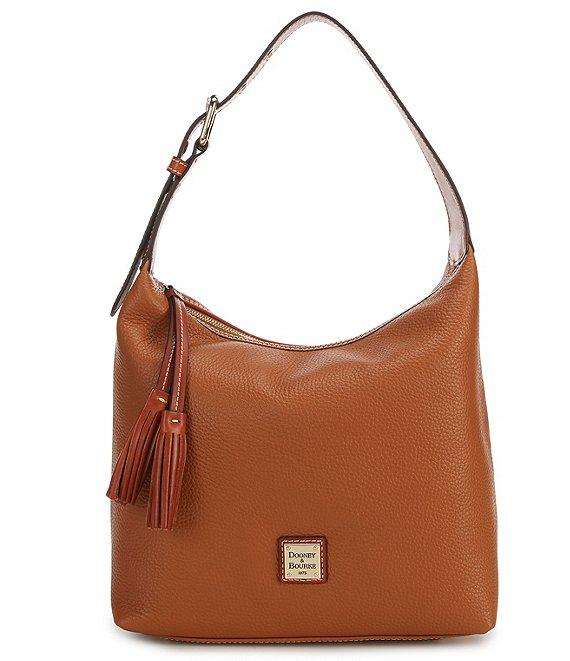 Color:Caramel - Image 1 - Pebble Collection Paige Sack Hobo Bag