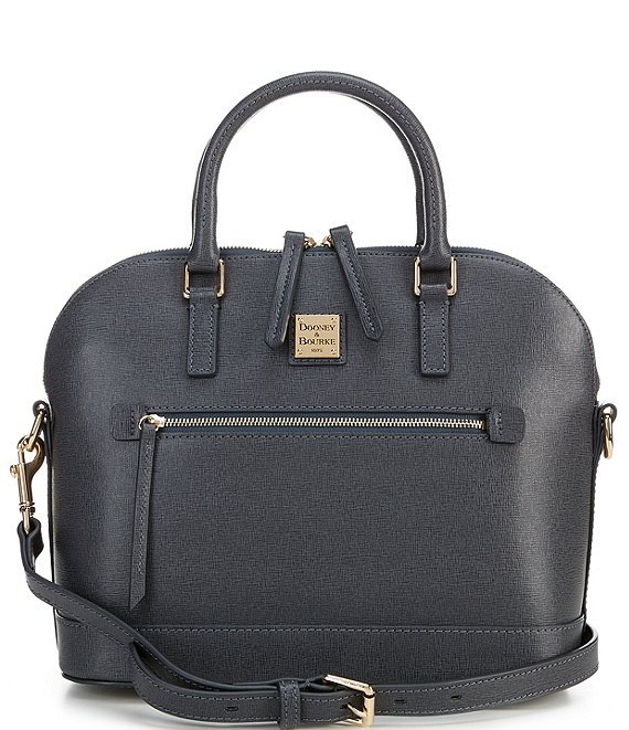 Color:Dark Grey - Image 1 - Saffiano Collection Bugatti Dome Zip Satchel Bag