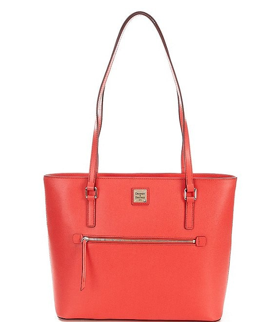 Color:Tomato - Image 1 - Saffiano Collection Large Leather Shopper Tote Bag