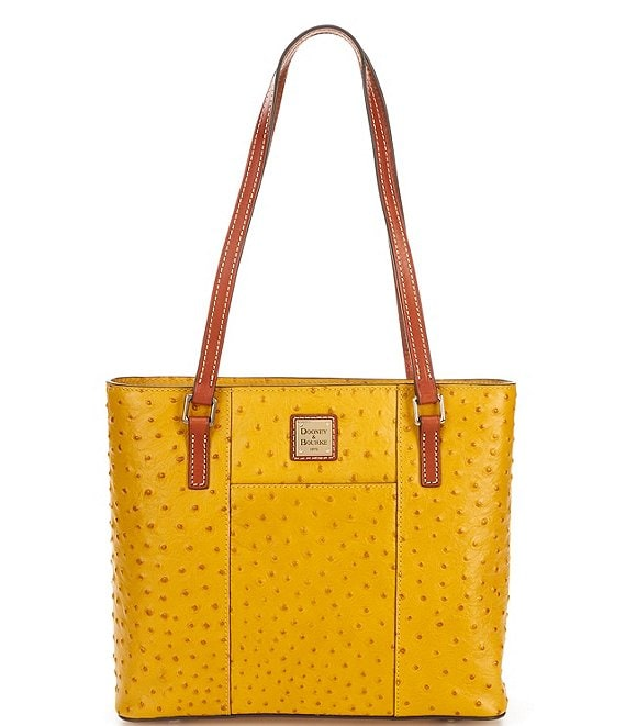 Color:Saffron - Image 1 - Ostrich Collection Small Lexington Colorblock Tote Bag