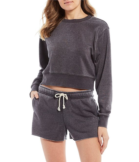 Color:Charcoal - Image 1 - Cropped Long Sleeve Pullover