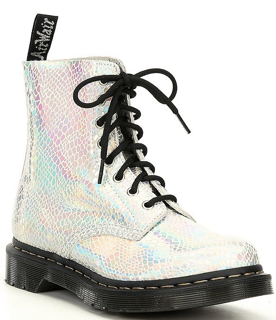Color:White - Image 1 - Women's 1460 Pascal Metallic Snake Combat Boots