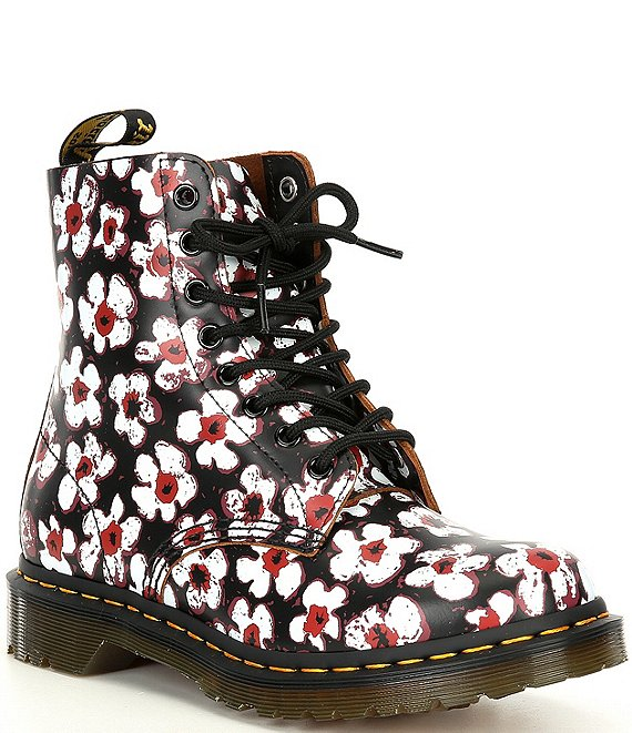 Color:Black/Red - Image 1 - Women's 1460 Pascal Pansy Fayre Combat Boots