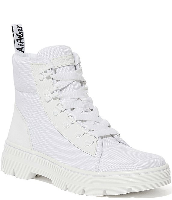 Color:White - Image 1 - Women's Combs Leather & Nylon Combat Boots