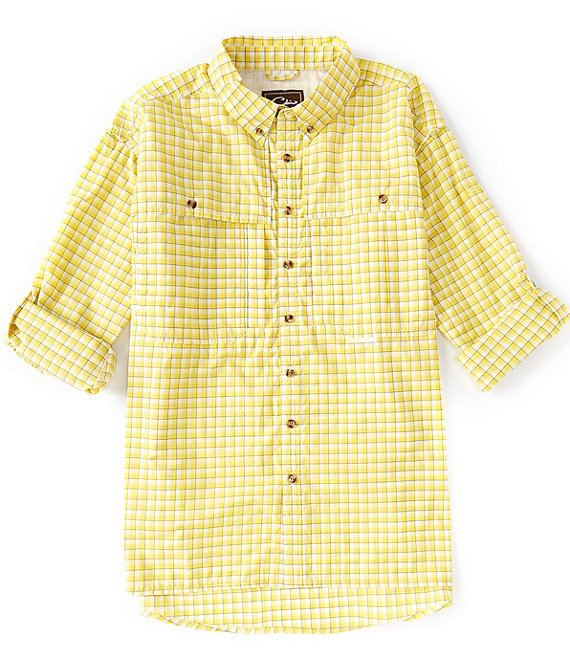 Color:Yellow - Image 1 - Drake FeatherLite Checked Plaid Wingshooter Performance Long-Sleeve Woven Shirt