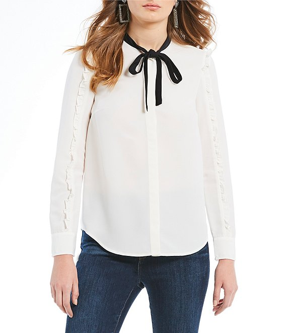 Draper James Long Sleeve Tie Neck Ruffle Blouse