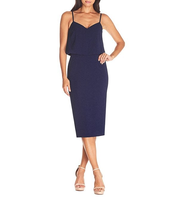 Color:Midnight Blue - Image 1 - Alondra V-Neck Sleeveless Blouson Midi Dress