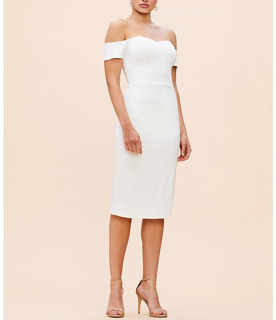 Color:Off White - Image 1 - Bailey Off-the-Shoulder Midi Length Sheath Dress