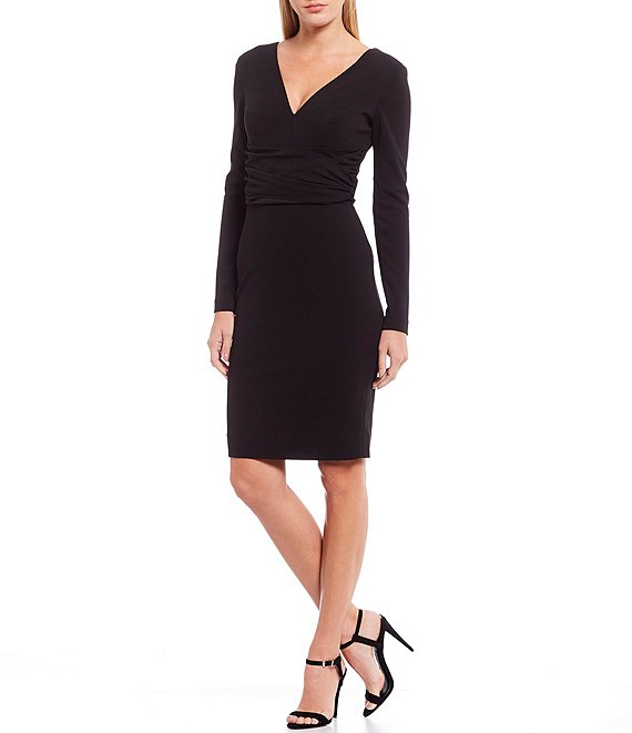 Dress the Population Drew V-Neck Long Sleeve Ruched Waist Stretchy Sheath Dress