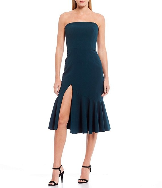 Dress the Population Madison Stretchy Front Slit Peplum Hem Strapless Dress