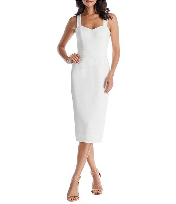 Color:Off White - Image 1 - Nicole Sweetheart Neckline Sleeveless Midi Dress