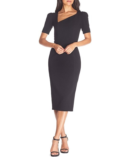 Color:Black - Image 1 - Ruth Asymmetrical V-Neckline Short Sleeve Sheath Dress