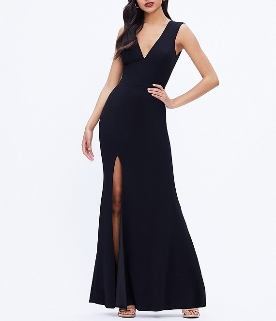 Color:Black - Image 1 - Sandra Crepe Plunge V-Neck Sleeveless Side Slit Gown