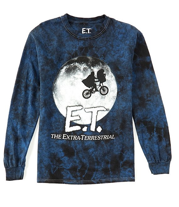 Color:Blue - Image 1 - To The Moon Tie-Dye Long-Sleeve Graphic T-Shirt